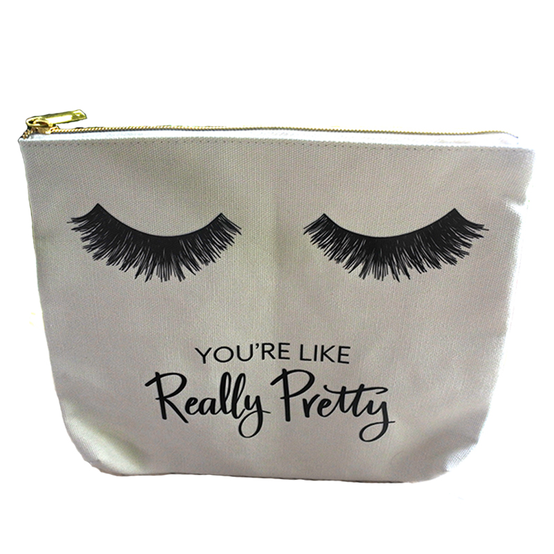 Promotion bulk custom logo travel zipper canvas make up bag <strong>cosmetic</strong>