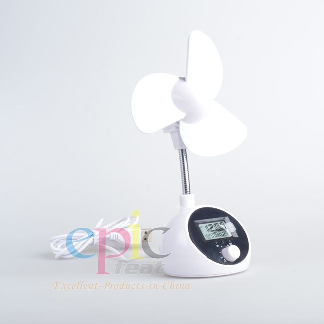 Home appliances 2014 New Model Long Lifetime Mini Fan with Time Display