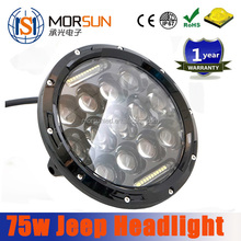 Morsun 7'' jeep headlight! waterproof jeep wrangler led lights, hi/lo beam 75w new product jeep headlight for 4wd, suv