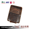 Soft genuine leather man's clip wallet handmade