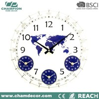Wholesale world convex round shape glass clock , American bezel blank sublimation glass clock