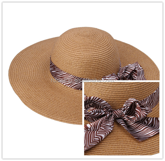NEW Lady Vacation Sun Hat Brown Floppy Wide Brim Straw Hat With Silk Scarf