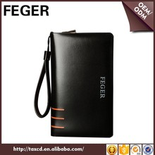 top selling FEGER big size mens designer genuine leather clutch bags with zipper