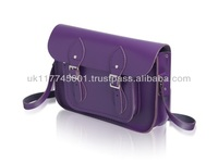ANU London Satchel 11.5 inch - Traditional British Satchel Bags *Handmade in England* - Purple