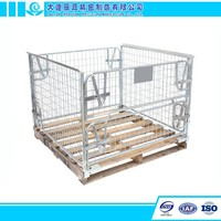 Folding Wire Cages Steel Foldable Mesh Pallet Cage