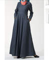 Eylet Princess Flare dubai denim abaya wholesale islamic arabic clothing muslim denim dress women abaya