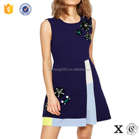 Fashion Embellished A-Line Dress in Navy