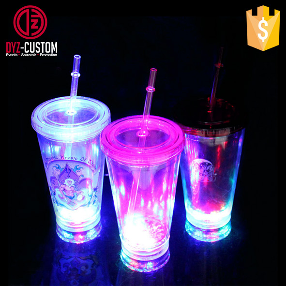 Double Wall Clear Plastic Led Flashing Tumbler with straw