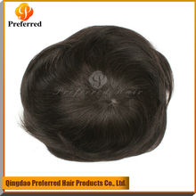 Fashion Style Soft Hair Men's Toupee Virgin Human Hair Natural Color Silky Straight Natural Color Toupee