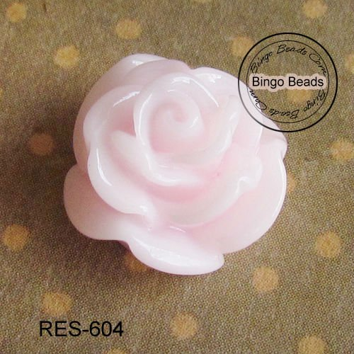 Resin Flower Cabochon Pink Rose Flower Cabochon Cab 20mm Lucite Fimo Polymer Clay