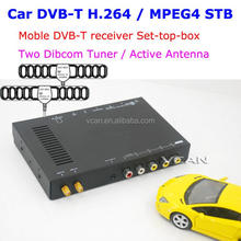 Fashionable best dvb-t car tv receiving box2 antenna 2 tuner digital mpeg4 TNT TDT cheap price for sale