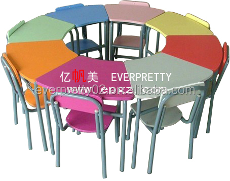 cheap Combined Trapezoid School Desk and Chair Sets attached