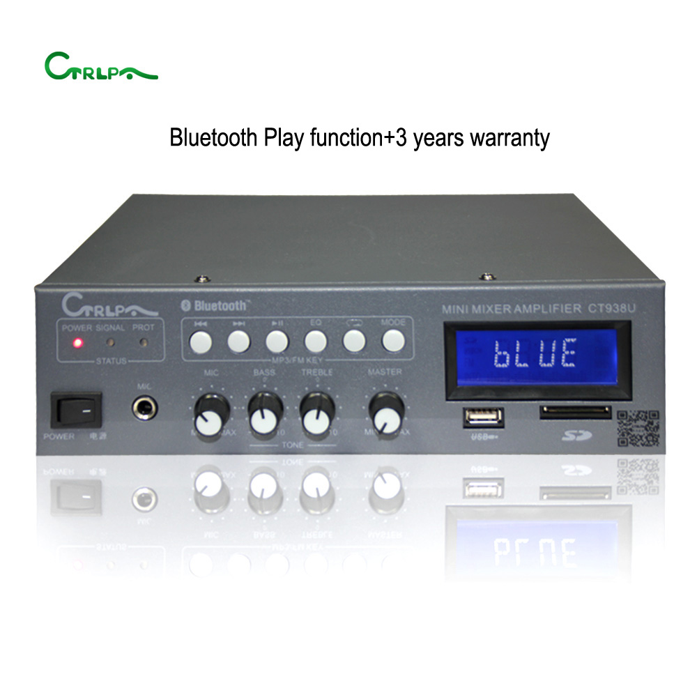 CTRLPA CT938U CE certification U disk/SD card/FM Broadcast Audio Amplifier bluetooth sound mixer 60w