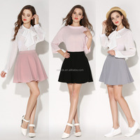 New Womens Miniskirt Autumn Fashion Slim Pleated Black Gray Pink Cute Short Skater Skirt Girls Latest Fashion Skirt for Ladies