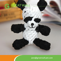 Panda animal shaped handmade cotton rope toy for pets