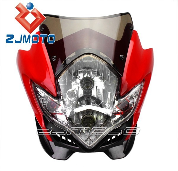ZJMOTO Head Light 12V Red Streetfighter Spyder Fairing Dirt Bike Street Fighter Front Lamps Motorbike Headlight