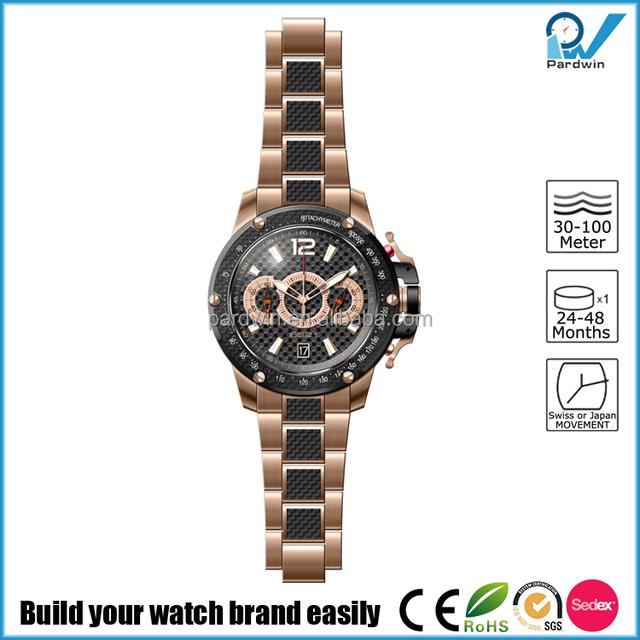 Custom rose gold 45mm big dial window Japanese Miyota 6S21 carbon fiber bezel chronograph unique mens watches