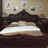carved solid wood European style bed room furniture super king bed guangdong