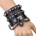 Fashion Adjustable Pressure Leather Wrap Wristband Cuff Punk Bracelet Bangle