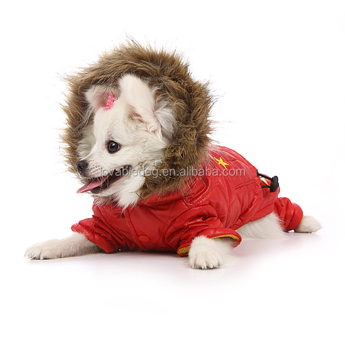 China Wholesale New Warm Cozy Red and Army Green waterproof Dog hoodie Coat Dog Shirt Pet Clothes Dog Dress Bow
