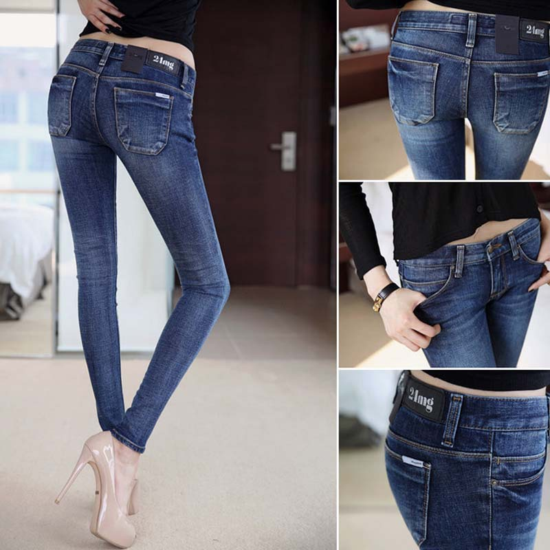 W18108 2015 new arrival girl jeans elastic thin pencil pants women legging jeans