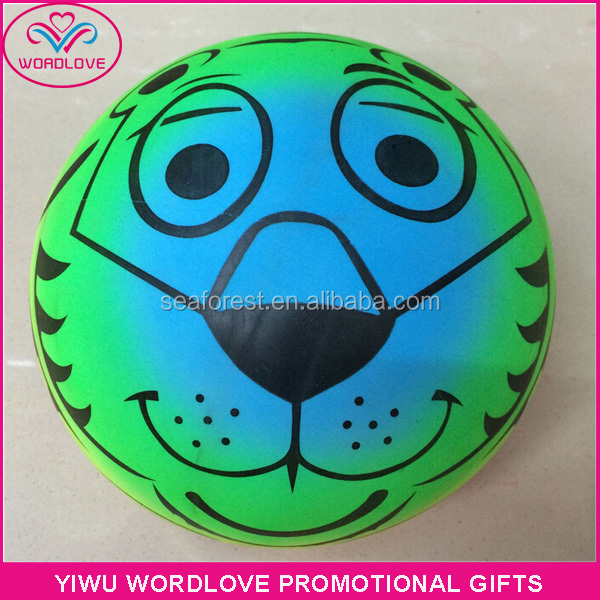 animal printed funny inflatable pvc beach balls for kids