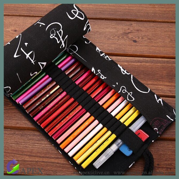 72 Holes Travel Life High-capacity Canvas Pencil Pouch Holder
