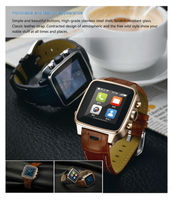 2014 alibaba express smart watch with leather wrist and two keys to control