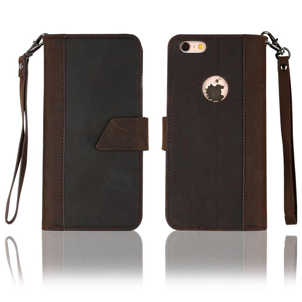 C&T Magnetic Closure Wrist Strap Stand Handmade Genuine Leather Wallet Case for iPhone 6S Plus