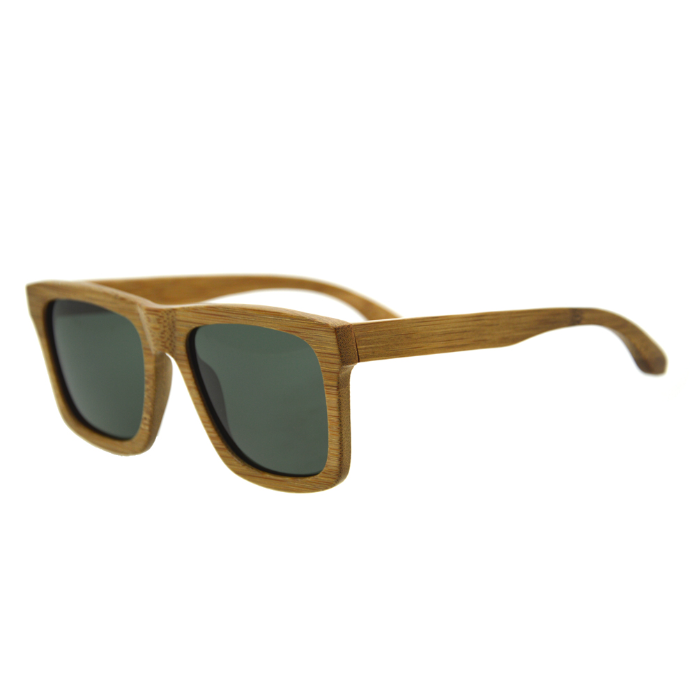 Best Price Carbonized Fiber Handicraft Bamboo Square Framed Sunglasses With TAC Polarized Lens