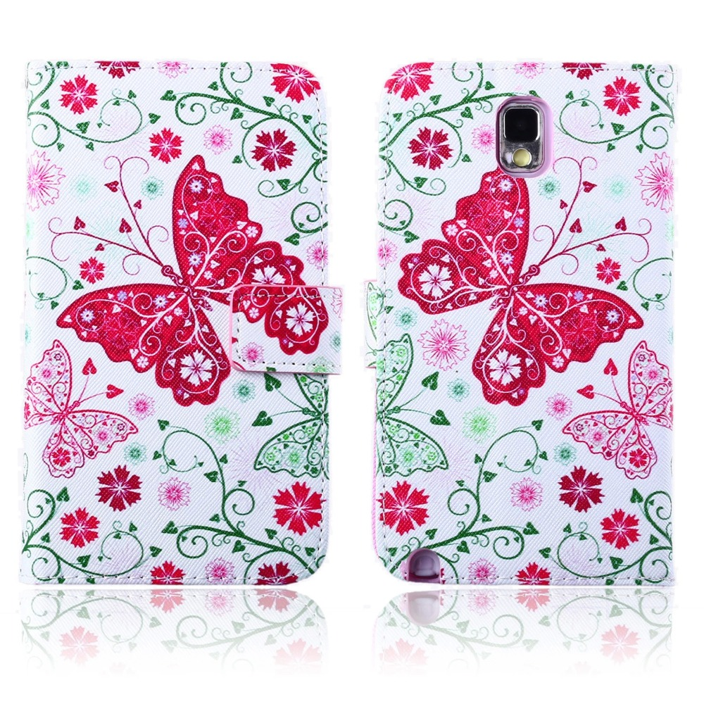 For Samsung Galaxy Note 3 Phone Case Beautiful Cute Print Cover Stand PU Leather Phone Bag Magnetic Smart Shell Case Wallet
