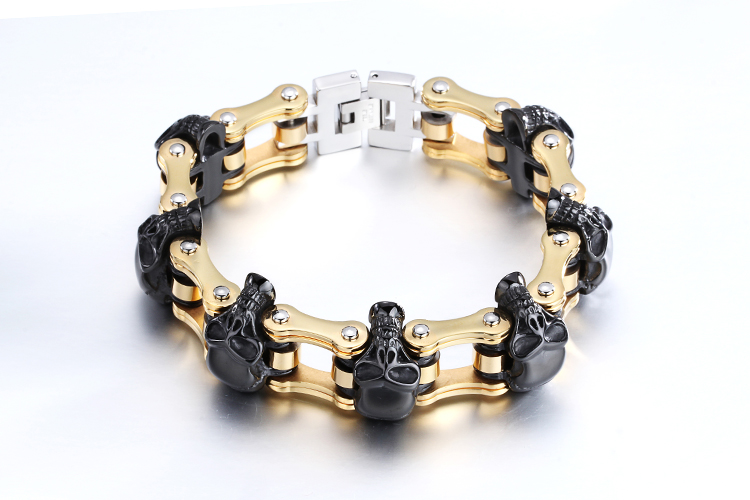 Men Personlized Skull Bike Chain 316L Stainless Steel Bracelets