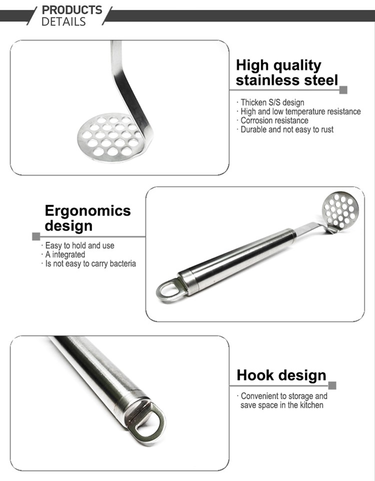 430 High quality stainless steel kitchen potato masher
