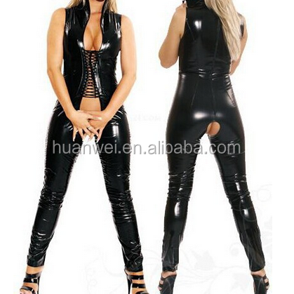 Latex bodysuit crotchless see through leather catsuit sexy lingerie