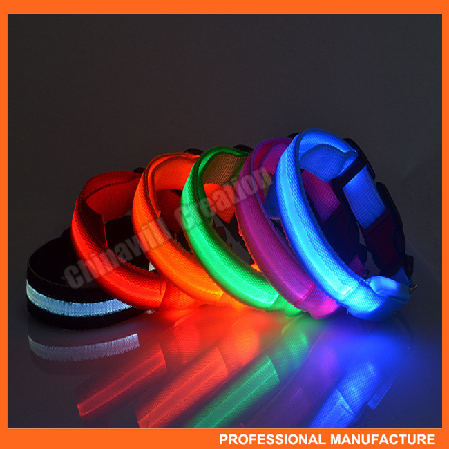 Novelty Adjustable Nylon Flashing LED Night Safety dog Collar for Pet Dog Cat Size S M L XL