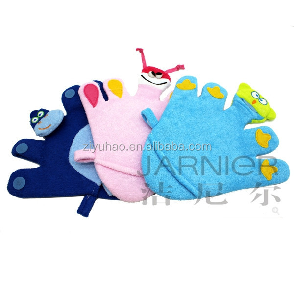 Promotional cleaning sponge baby five finger animal bath cleaning sponge glove