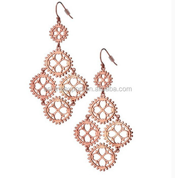 Hot wholesale Fashion jewelry rose gold clover pendant earring metal alloy hanging earring