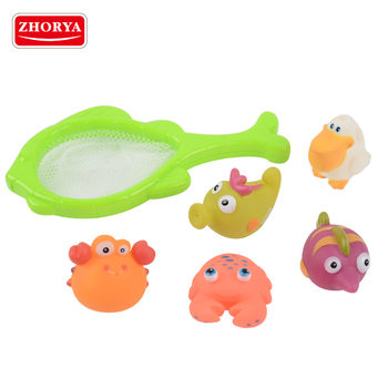 zhorya cheap baby bath toy organizer with vinyl toy animal