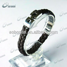 2013 stainless steel leather bracelets magnetic clasp,fashion and high quality jewelry for men