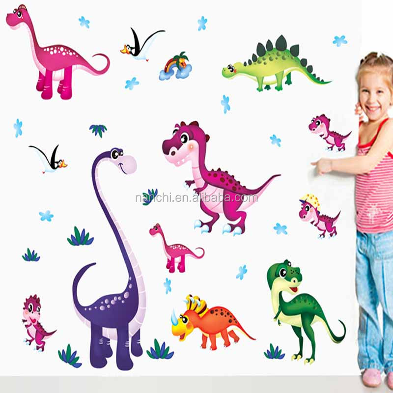 Popular for kids dinosaurs carto wall stickers children rooms baby bedroom living room wallpaper 3D cartoon pvc waterproof decor