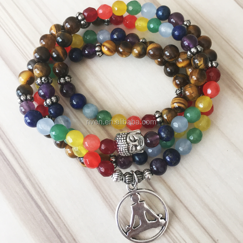 SN0856 7 Chakra Beaded Mala Jewelry Buddha Charm Chakras bracelet for unisex Buddhist Meditation wrapped wrist
