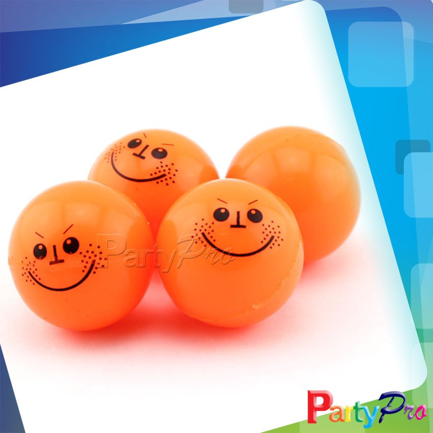 2014 Hot Sale Happy Face Orange Rubber Bouncy Balls Bounce Back Jumping Ball