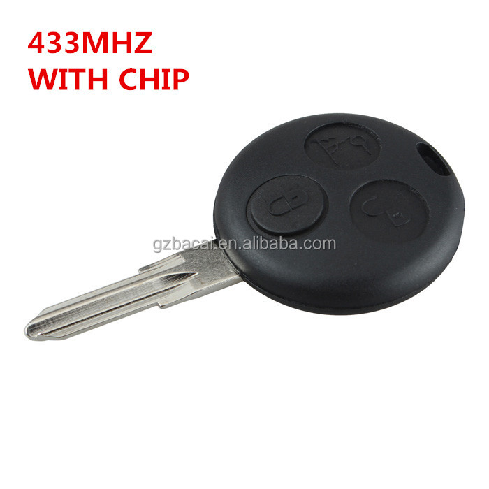 433MHz 3 Buttons Remote Key Fob smart car key For Smart Fortwo Forfour City Roadster