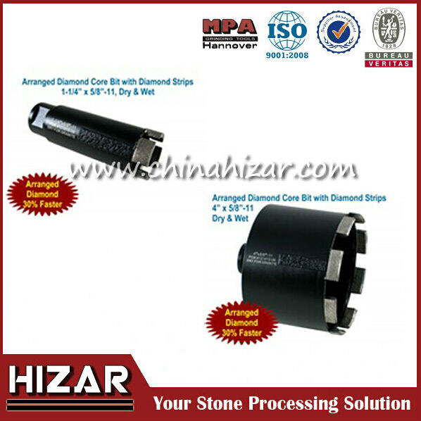 Hizar brand or OEM diamond core drill bit, hollow core diamond drill bits