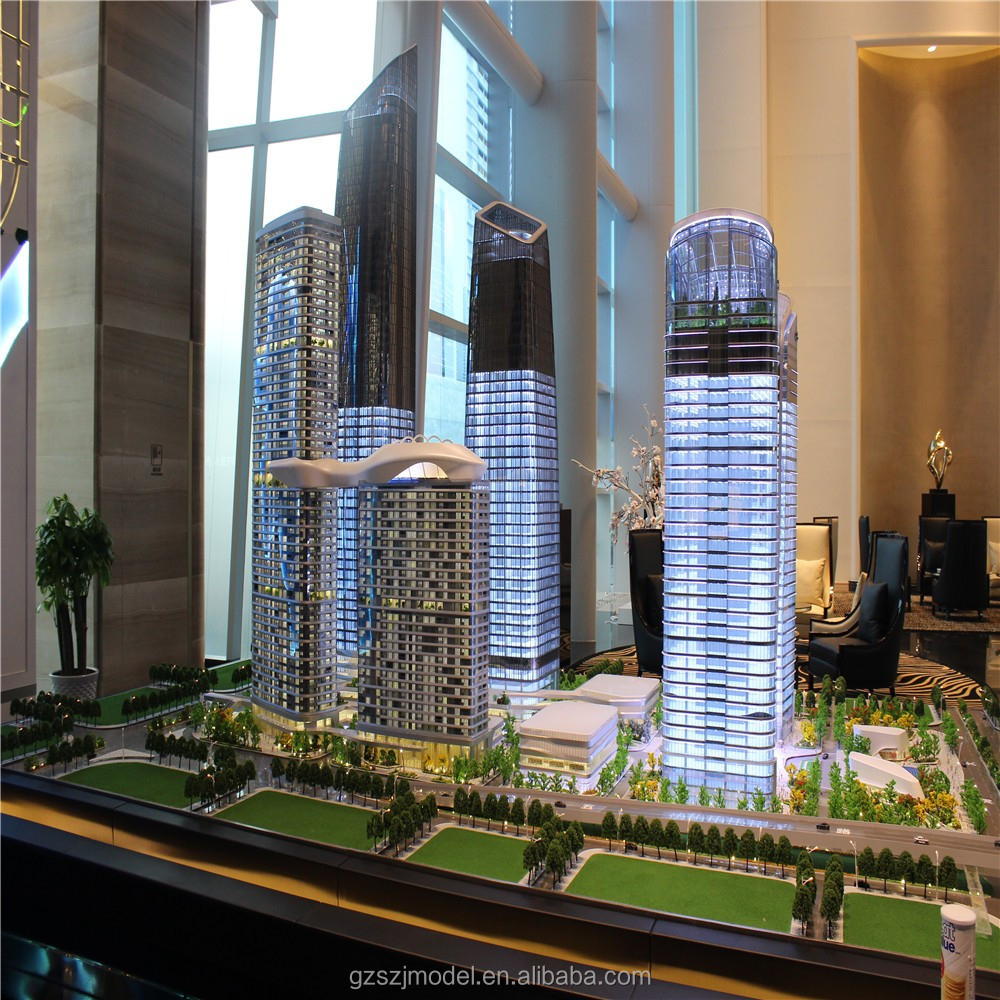 Led light 1/100 scale model, 3d models famous buildings