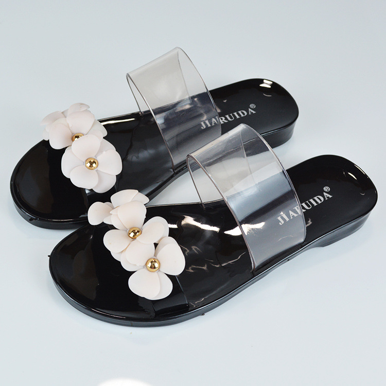 Flower Sandals Soft PVC Plastic Jelly Shoes Black Woman Slipper