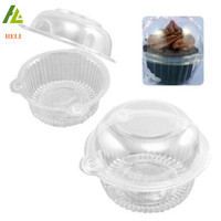 Blister process plastic clear cup cake box with hinged dome lid