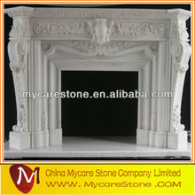 White electric fireplace marble top indoor