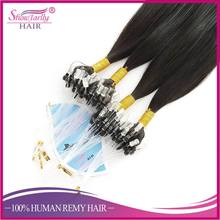 Hair extensions human hair brazilian virgin cheveux naturels remy micro loop link bead pre bonded micro ring extension black