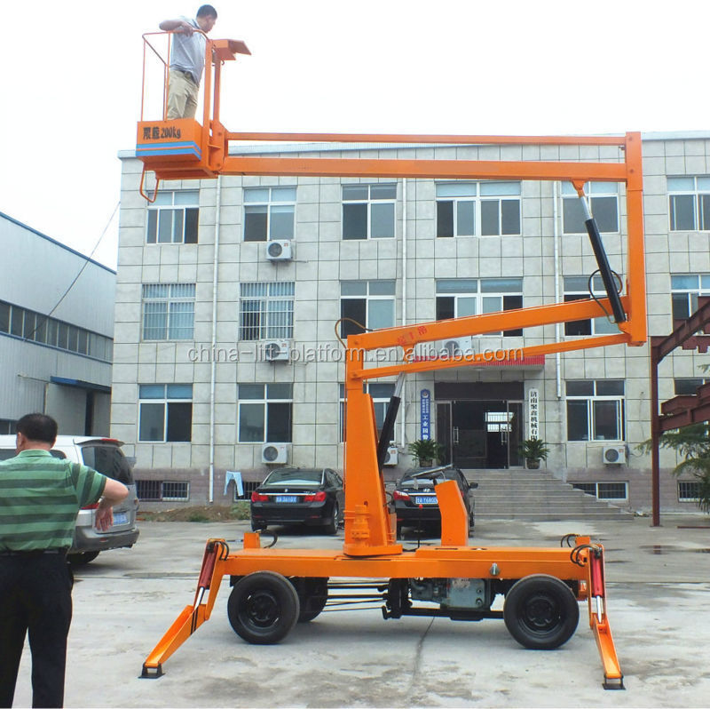 14m towable railer mounted crank arm lift table for window cleaning